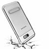 Eiroo Mixx Hybrid Samsung Galaxy J7 Prime Silver Kenarlı Standlı Silikon Kılıf - Resim 2