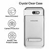 Eiroo Mixx Hybrid Samsung Galaxy J7 Prime Silver Kenarlı Standlı Silikon Kılıf - Resim 1