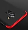 Eiroo Protect Fit Samsung Galaxy A8 2018 360 Derece Koruma Kırmızı-Siyah Rubber Kılıf - Resim 3