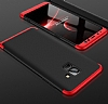 Eiroo Protect Fit Samsung Galaxy A8 Plus 2018 360 Derece Koruma Kırmızı-Siyah Rubber Kılıf - Resim 1
