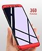 Eiroo Protect Fit Samsung Galaxy A8 Plus 2018 360 Derece Koruma Kırmızı-Siyah Rubber Kılıf - Resim 5