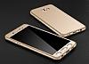 Eiroo Protect Fit Samsung Galaxy C7 Pro 360 Derece Koruma Gold Rubber Kılıf - Resim 5