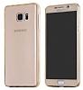 Eiroo Protection Samsung Note 5 360 Derece Koruma Şeffaf Gold Silikon Kılıf - Resim 3