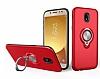 Eiroo Q-Armor Samsung Galaxy J7 Pro 2017 Selfie Yüzüklü Ultra Koruma Kırmızı Kılıf - Resim 3