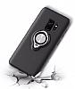 Eiroo Q-Armor Samsung Galaxy S9 Selfie Yüzüklü Ultra Koruma Siyah Kılıf - Resim 1