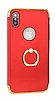 Eiroo Ring Fit iPhone X Selfie Yüzüklü Kırmızı Rubber Kılıf - Resim 5