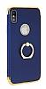 Eiroo Ring Fit iPhone X Selfie Yüzüklü Lacivert Rubber Kılıf - Resim 5
