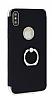 Eiroo Ring Fit iPhone X Selfie Yüzüklü Siyah Rubber Kılıf - Resim 5