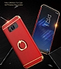 Eiroo Ring Fit Samsung Galaxy Note 8 Selfie Yüzüklü Silver Rubber Kılıf - Resim 2
