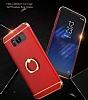 Eiroo Ring Fit Samsung Galaxy Note 8 Selfie Yüzüklü Kırmızı Rubber Kılıf - Resim 2