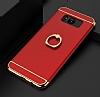 Eiroo Ring Fit Samsung Galaxy S8 Plus Selfie Yüzüklü Kırmızı Rubber Kılıf - Resim 1