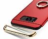 Eiroo Ring Fit Samsung Galaxy S8 Plus Selfie Yüzüklü Kırmızı Rubber Kılıf - Resim 3
