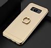 Eiroo Ring Fit Samsung Galaxy S8 Selfie Yüzüklü Gold Rubber Kılıf - Resim 1