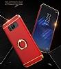 Eiroo Ring Fit Samsung Galaxy S8 Selfie Yüzüklü Kırmızı Rubber Kılıf - Resim 5