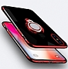 Eiroo Ring Laser iPhone 6 Plus / 6S Plus Selfie Yüzüklü Kırmızı Silikon Kılıf - Resim 5