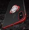 Eiroo Ring Laser iPhone X / XS Selfie Yüzüklü Siyah Silikon Kılıf - Resim 8