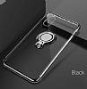 Eiroo Ring Laser iPhone X / XS Selfie Yüzüklü Siyah Silikon Kılıf - Resim 4