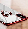 Eiroo Ring Laser iPhone X / XS Selfie Yüzüklü Siyah Silikon Kılıf - Resim 6
