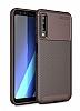 Eiroo Rugged Carbon Samsung Galaxy A7 2018 Kahverengi Silikon Kılıf