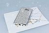 Eiroo Samsung Galaxy C9 Pro Taşlı Silver Silikon Kılıf - Resim 1