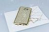 Eiroo Samsung Galaxy C9 Pro Taşlı Gold Silikon Kılıf - Resim 1