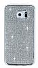 Eiroo Samsung Galaxy S6 Edge Taşlı Silver Silikon Kılıf