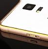 Eiroo Samsung N7505 Galaxy Note 3 Neo Gold Çizgili Round Metal Bumper Çerçeve Rose Gold Kılıf - Resim 2