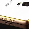 Eiroo Samsung N7505 Galaxy Note 3 Neo Gold Çizgili Round Metal Bumper Çerçeve Rose Gold Kılıf - Resim 3
