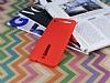 Asus ZenFone 2 Deri Desenli Ultra İnce Kırmızı Silikon Kılıf - Resim 2