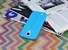 Samsung Galaxy i9500 S4 Deri Desenli Ultra İnce Mavi Silikon Kılıf - Resim 2