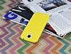 Samsung Galaxy i9500 S4 Deri Desenli Ultra İnce Sarı Silikon Kılıf - Resim 1