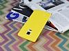 Samsung Galaxy Note Edge Deri Desenli Ultra İnce Sarı Silikon Kılıf - Resim 2