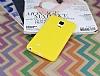 Samsung Galaxy Note Edge Deri Desenli Ultra İnce Sarı Silikon Kılıf - Resim 1