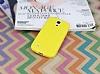 Samsung i9190 Galaxy S4 mini Deri Desenli Ultra İnce Sarı Silikon Kılıf - Resim 1