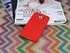 Samsung i9800 Galaxy S6 Deri Desenli Ultra İnce Kırmızı Silikon Kılıf - Resim 1