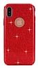 Eiroo Silvery iPhone X Simli Kırmızı Silikon Kılıf - Resim 6
