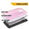 Eiroo Silvery LG Stylus 3 Simli Kırmızı Silikon Kılıf - Resim 1