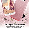 Eiroo Silvery Samsung Galaxy A8 2018 Simli Gold Silikon Kılıf - Resim 1