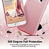 Eiroo Silvery Samsung Galaxy A8 Plus 2018 Simli Gold Silikon Kılıf - Resim 1