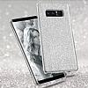 Eiroo Silvery Samsung Galaxy Note 8 Simli Selfie Yüzüklü Silver Silikon Kılıf - Resim 1