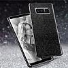 Eiroo Silvery Samsung Galaxy Note 8 Simli Selfie Yüzüklü Siyah Silikon Kılıf - Resim 1