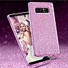 Eiroo Silvery Samsung Galaxy Note 8 Simli Selfie Yüzüklü Pembe Silikon Kılıf - Resim 1