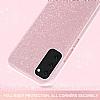 Eiroo Silvery Samsung Galaxy S20 Simli Pembe Silikon Kılıf - Resim 1