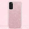 Eiroo Silvery Samsung Galaxy S20 Simli Pembe Silikon Kılıf - Resim 2