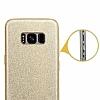 Eiroo Silvery Samsung Galaxy S8 Simli Gold Silikon Kılıf - Resim 3