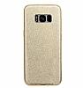 Eiroo Silvery Samsung Galaxy S8 Simli Gold Silikon Kılıf - Resim 2