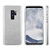 Eiroo Silvery Samsung Galaxy S9 Plus Simli Silver Silikon Kılıf - Resim 1