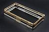 Eiroo Sony Xperia M4 Aqua Gold Çizgili Round Metal Bumper Çerçeve Siyah Kılıf - Resim 1