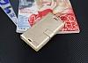Eiroo Sony Xperia X Cüzdanlı Yan Kapaklı Gold Deri Kılıf - Resim 3