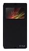 Eiroo Sony Xperia Z Vantuzlu Pencereli Siyah Deri K�l�f